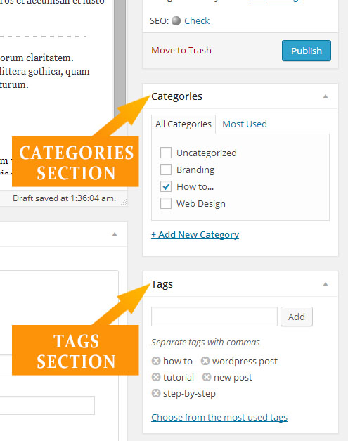 STEP 7 - Categories and Tags