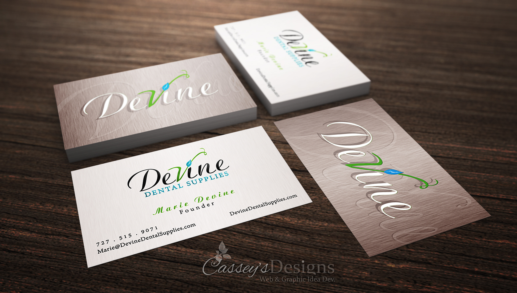 Casseys designs web graphic idea development marie devine devine dental supplies branding with logo business cards colourmoves Gallery